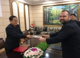The meeting in the People's Committee and the presentation of a commemorative certificate of the contribution made to the Kim Il Sung and Kim Jong Il Foundation